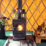 Wood burning stove inside  yurt