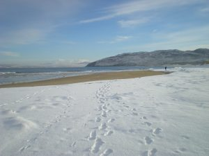 Ballymastocker Bay in the snow