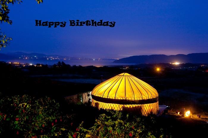 yurt image night happy birthday caption