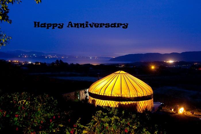 nignight yurt image happy anniversay caption