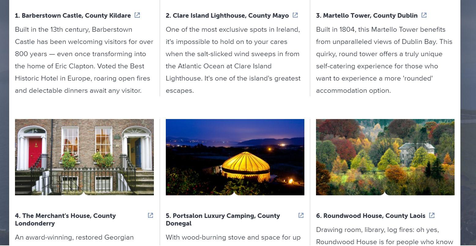 webpage of Ireland.com